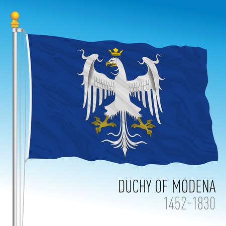Duchy of Modena historical flag, Italy, vector illustration Vettoriali