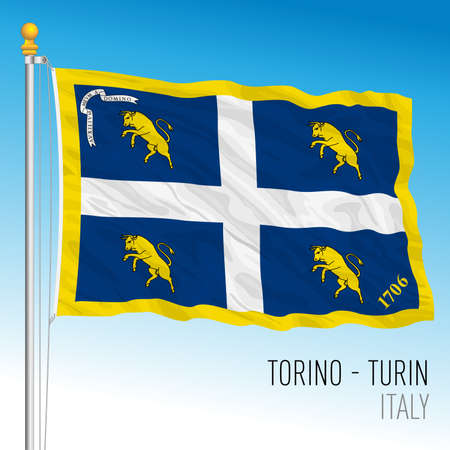 City of Turin official flag, Piedmont, Italy, vector illustration