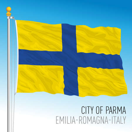 Parma, flag of the city and the municipality, Emilia Romagna, Italy, vector illustration Vettoriali