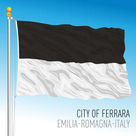 Ferrara, flag of the city and the municipality, Emilia Romagna, Italy, vector illustration