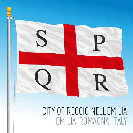 Reggio Emilia, official flag of the city and municipality, Emilia Romagna, Italy, vector illustration Vettoriali