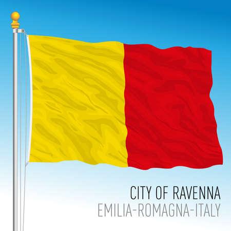 Ravenna, flag of the city and municipality, Italy, Emilia Romagna, vector illustration