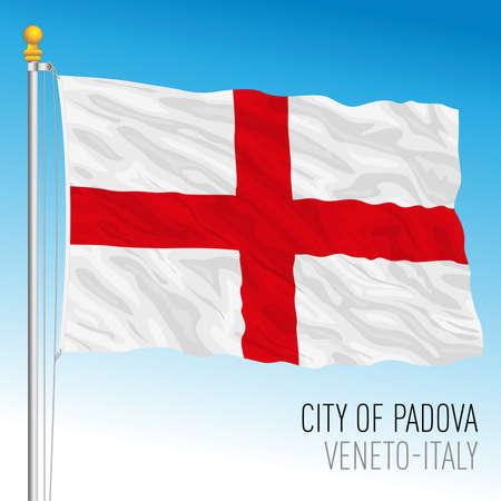 Padova official flag of the city, Veneto, Italy, vector illustration