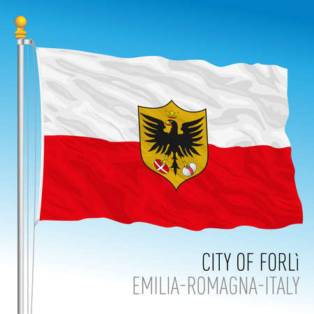 Forli, flags of the city and municipality, Emilia Romagna, Italy, vector illustration