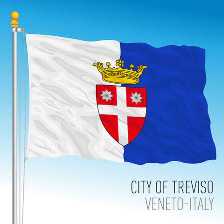 Treviso, official flag of the city and municipality, Veneto, Italy, vector illustration
