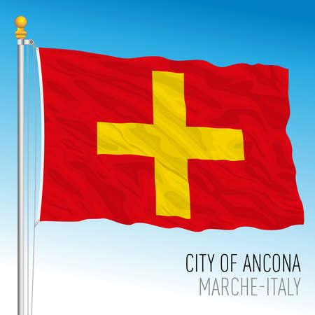 Ancona flag of the city, Marche region, Italy, vector illustration