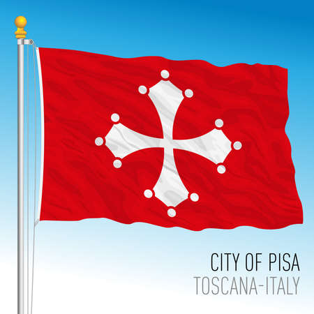 Pisa, flag of the city and municipality, Tuscany, Italy, vector illustration