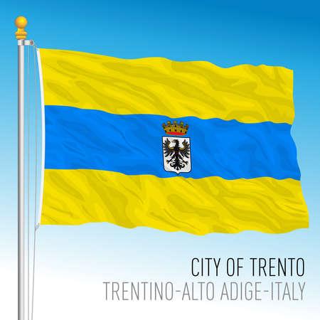 Trento, flag of the city and municipality, Trentino-Alto Adige, Italy, vector illustration Stock Illustratie