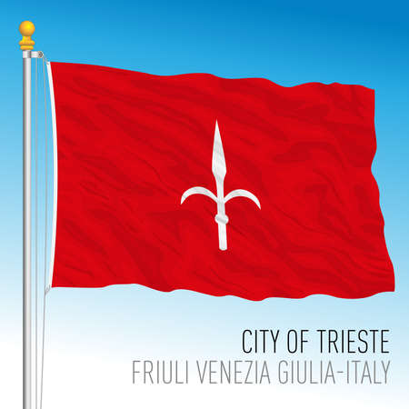 Trieste, flag of the city and municipality, Friuli Venezia Giulia, Italy, vector illustration