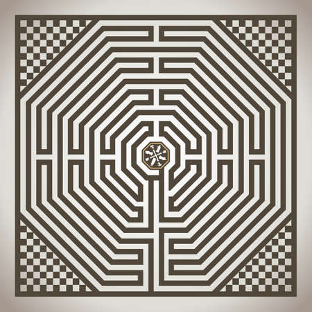 Amiens, the famous labyrinth on the floor of the cathedral, religious symbol, vector illustration