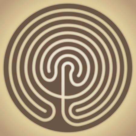The labyrinth of Knossos, Crete, Greek mythology, vector illustration