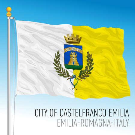 Castelfranco Emilia city, Modena, Italy, flag of the municipality, vector illustration