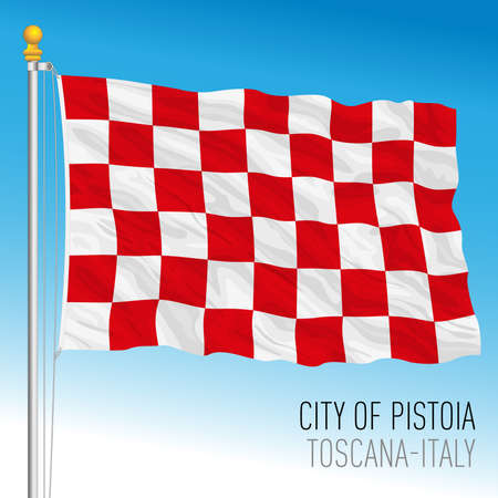 Pistoia, official flag of the city and municipality, Tuscany, Italy, vector illustration