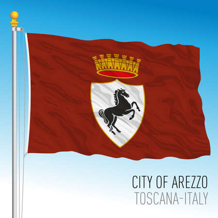 Arezzo official flag of the city and municipality, Tuscany, Italy, vector illustration 免版税图像 - 154408217