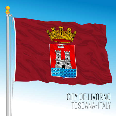 Livorno official flag of the city and municipality, Tuscany, Italy, vector illustration 免版税图像 - 154408218