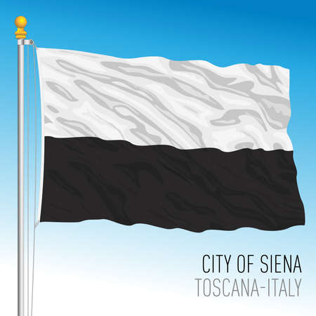 Siena official flag of the city and municipality, Tuscany, Italy, vector illustration