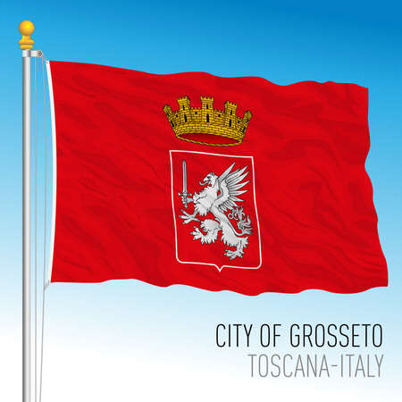 Grosseto official flag of the city and municipality, Tuscany, Italy, vector illustration Stockfoto - 154408220