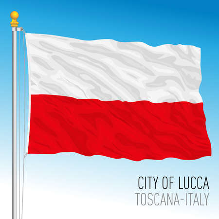 Lucca official flag of the city and municipality, Tuscany, Italy, vector illustration