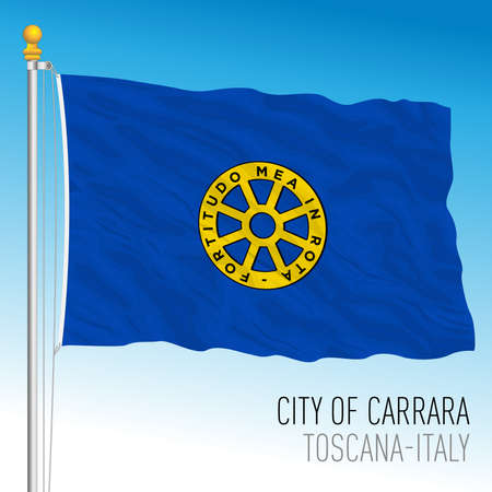 Carrara official flag of the city and municipality, Tuscany, Italy, vector illustration Stockfoto - 154408222