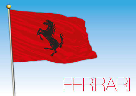 Maranello, Italy - year 2020, red flag of Ferrari cars racing with horse symbol, vector illustration, editorial Stockfoto - 154913695