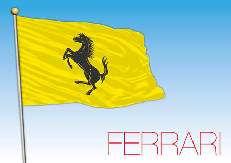 Maranello, Italy - year 2020, yellow flag of Ferrari cars racing with horse symbol, vector illustration, editorial Stockfoto - 154913694