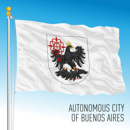 Buenos Aires autonomous city of Argentina flag, vector illustration