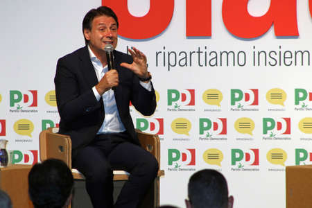 Modena, Italy, September 8, 2020 - Giuseppe Conte, prime minister of the Italian Republic, public interview at a Democratic Party event Stockfoto - 154913693