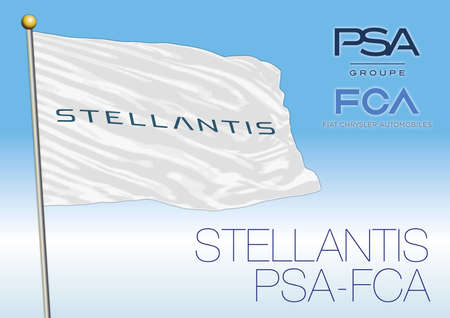 Europe, year 2020, Stellantis flag, new automotive group PSA and FCA, vector illustration, editorial Redactioneel