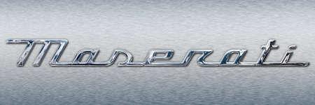 Modena, Italy, year 2020 - New metallic cursive brand Maserati cars