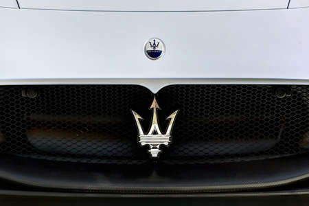 MODENA - ITALY - September 10, 2020 - Front grill of the new Maserati MC20, detail of the brand Stockfoto - 155159658