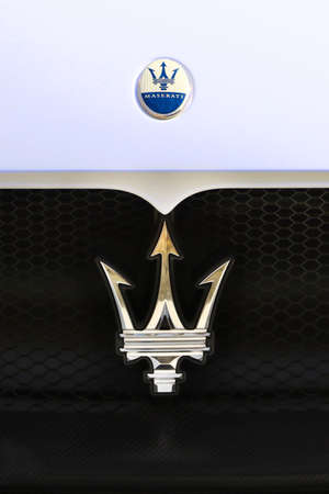 MODENA - ITALY - September 10, 2020 - Front grill of the new Maserati MC20, detail of the frontal brand Stockfoto - 155159745