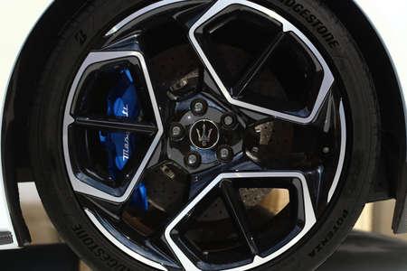 MODENA - ITALY - September 10, 2020 - Wheel of the new Maserati MC20, detail of the aluminum wheel