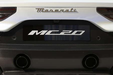 MODENA - ITALY - September 10, 2020 - Rear of the new Maserati MC20, back side detail Redactioneel