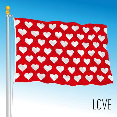 Symbolic love flag, fantasy image, vector illustration Stock Illustratie