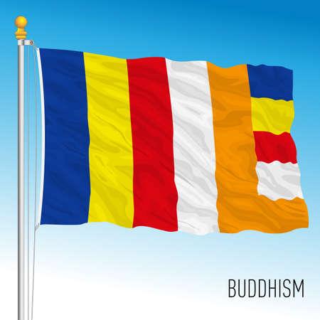 Buddhism religion flag, asiatic culture, vector illustration Stockfoto - 155426568