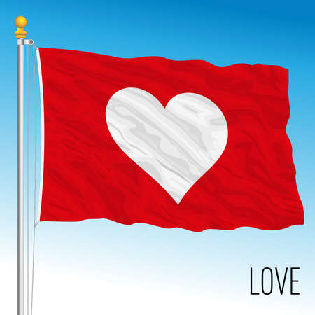 Symbolic love flag, fantasy image, vector illustration Stockfoto - 155426572