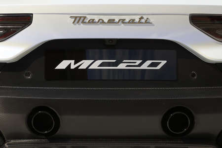 MODENA - ITALY - September 10, 2020 - Public presentation of the new Maserati MC20, back side view Stockfoto - 155380953