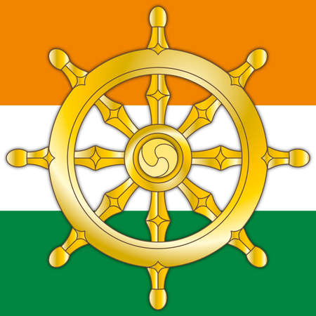 Dharma wheel, symbol of India and religions of Hinduism, Jainism and Buddhism, vector illustration