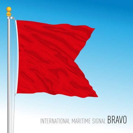 Bravo flag, international maritime signal, vector illustration