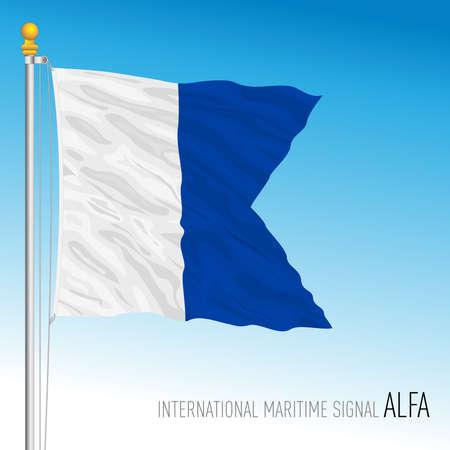 Alpha flag, international maritime signal, vector illustration Ilustração