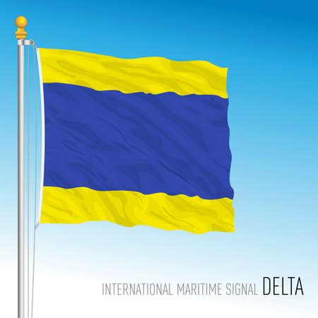Delta flag, international maritime signal, vector illustration