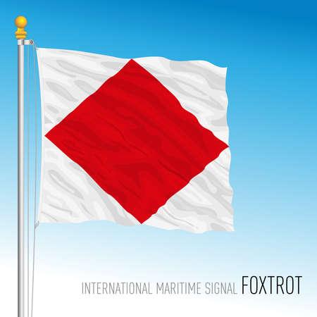 Foxtrot flag, international maritime signal, vector illustration