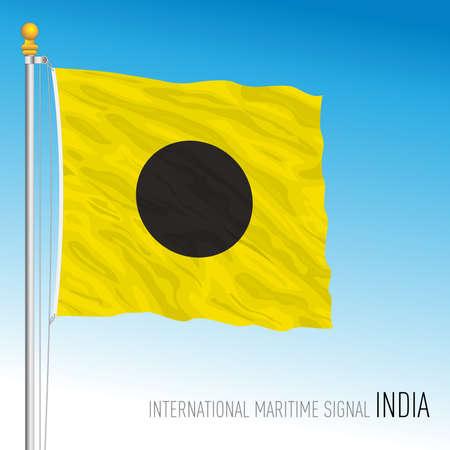 India flag, international maritime signal, vector illustration Ilustração