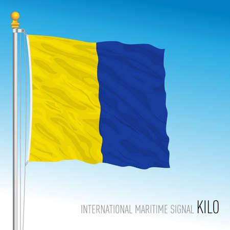 Kilo flag, international maritime signal, vector illustration