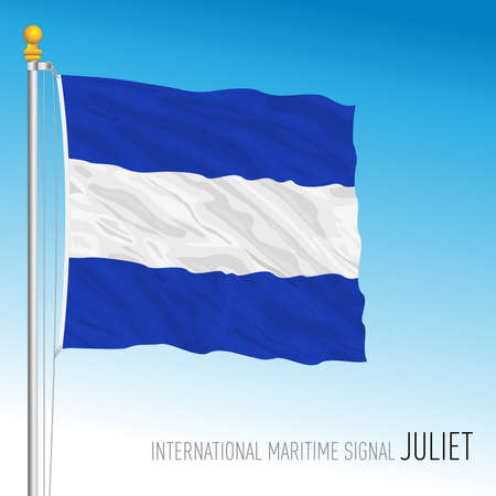 Juliet flag, international maritime signal, vector illustration