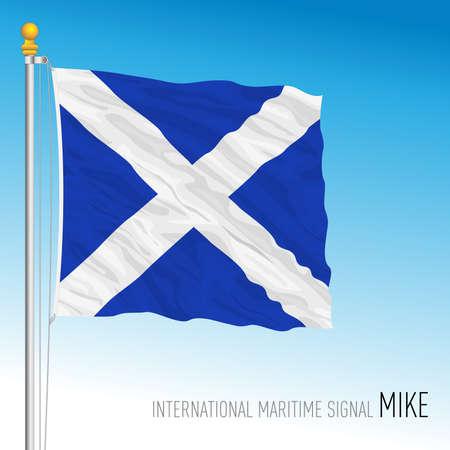 Mike flag, international maritime signal, vector illustration