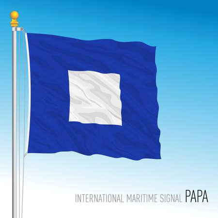 Papa flag, international maritime signal, letter P, vector illustration Ilustração