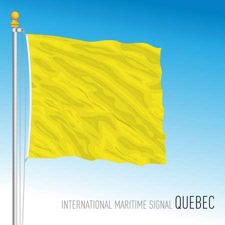 Quebec flag, international maritime signal, letter Q, vector illustration