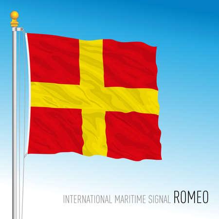 Romeo flag, international maritime signal, letter R, vector illustration Ilustração
