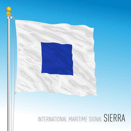 Sierra flag, international maritime signal, letter S, vector illustration